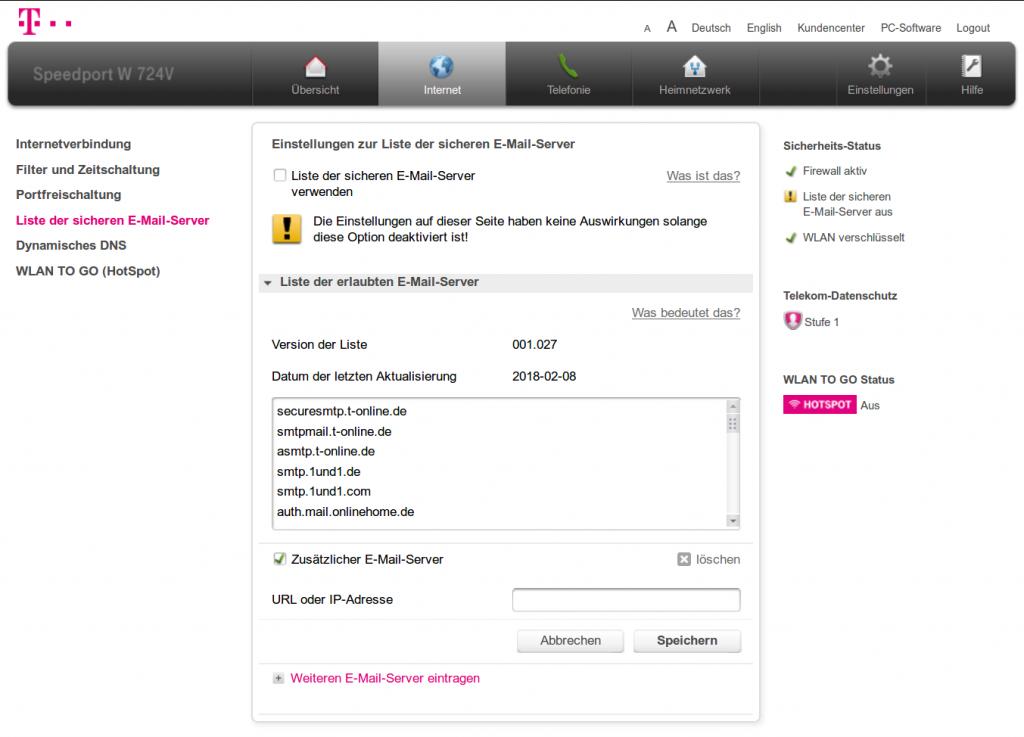 """Unter """"Internet"""" > """"Liste der sicheren E-Mail-Server"""" können Einträge ergänzt werden oder die ganze Funktion deaktiviert werden."""
